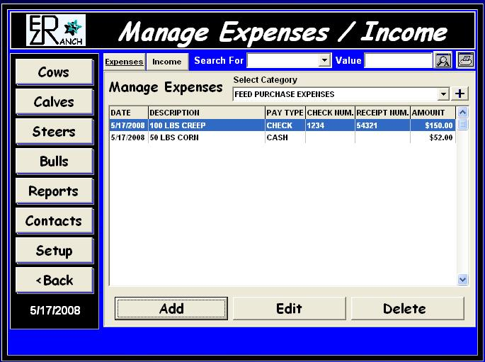 Expenses and Income Screen